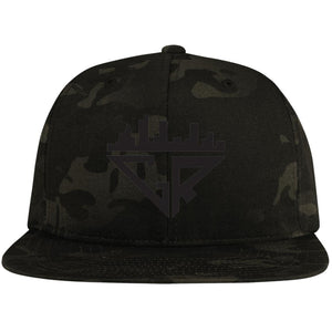 City Racks Flat Bill High-Profile Snapback Hat - Black