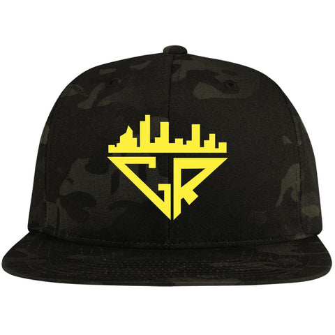 Image of City Racks Flat Bill High-Profile Snapback Hat - Athletic Gold