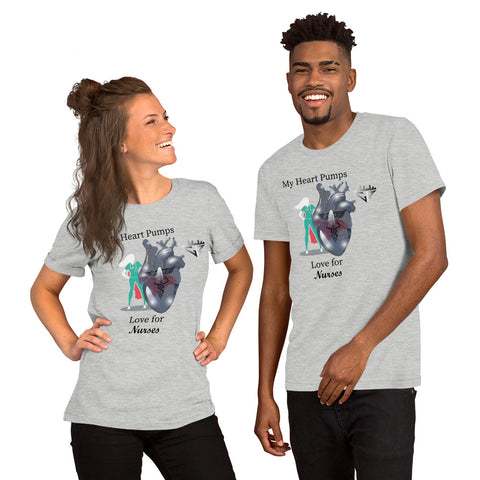 Image of My Heart Pumps Love for Nurses, Women, Men, Short-Sleeve Unisex T-Shirt, City Racks