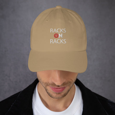 City Racks, RACKS ON RACKS, red and white graphics, Dad hat