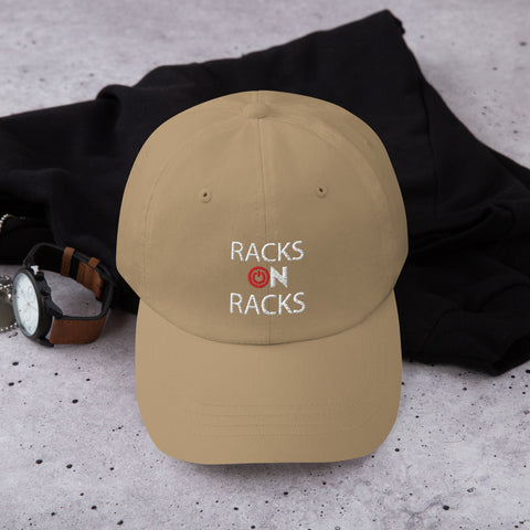 Image of City Racks, RACKS ON RACKS, red and white graphics, Dad hat