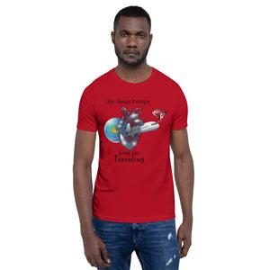 My Heart Pumps Love for Traveling, Men's, Short-Sleeve T-Shirt
