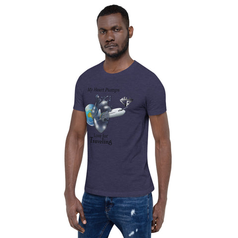 Image of My Heart Pumps Love for Traveling, Men's, Short-Sleeve T-Shirt