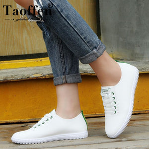TAOFFEN Women Sneakers White Vulcanized Shoes Lace Up Round Toe Casual Women Shoes Fashion Women Shoes Footwear Size 35-40
