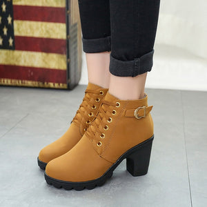 Boots Women Shoes Women Fashion High Heel Lace Up Ankle Boots Ladies Buckle Platform Artificial Leather Shoes bota feminina