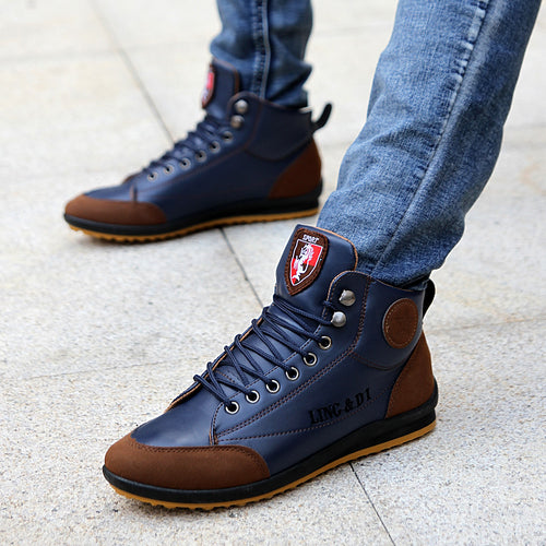 2019 Men Shoes Comfortable Chaussure Homme Casual Flat Boots Men Microfiber Leather Winter Autumn Hiking Ankle Boots