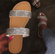 Charger l'image dans la galerie, Dimond women slippers summer crystal Hollow flat Slide ladies open toe Comfort slip on Outdoor beach sandals woman shoes