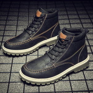 Men Boots High Leather Causal Shoes Autumn Winter Retro Work Safety Tooling Boots Platform Footwear Waterproof Anti-skid Design