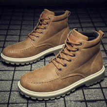 Charger l'image dans la galerie, Men Boots High Leather Causal Shoes Autumn Winter Retro Work Safety Tooling Boots Platform Footwear Waterproof Anti-skid Design