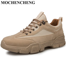 Charger l'image dans la galerie, Men Tooling Boots Autumn Casual Shoes Black Khaki Beige Lace-up Sneakers Breathable Anti-skid Design Adult Amle Martin Boots