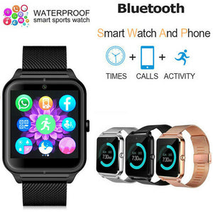 3 Colors Stainless Steel Bluetooth GSM SIM Smart Watch Z60 For Samsung  iOS Android Phone