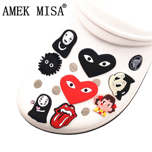 Single Sale 1pc PVC Shoe Charms Cartoon Spirited away Garden Shoe Decoration Accessories for croc jibz Kids Party X-mas DONG-q08