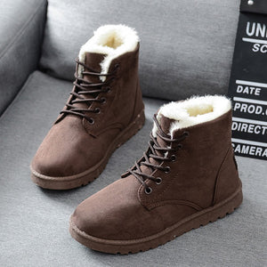 Free Shipping Women Boots Faux Suede Snow Boots Women Ankle Boots Warm Fur women booties Solid Winter Boots Leather Women Shoes