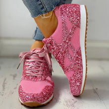 Charger l'image dans la galerie, Women Flat Glitter Sneakers Casual Female Mesh Lace Up Bling Platform Comfortable Plus Size Vulcanized Shoes 2019 Soft Knitting