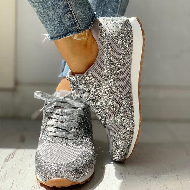Women Flat Glitter Sneakers Casual Female Mesh Lace Up Bling Platform Comfortable Plus Size Vulcanized Shoes 2019 Soft Knitting