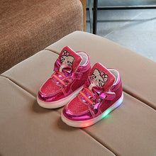 Charger l'image dans la galerie, Fashion New Spring Autumn Children Glowing Sneakers Kids Shoes Chaussure Enfant Hello Kitty Girls Shoes With LED Light 21-30