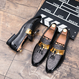 M-anxiu Hot Sale Men Flat Black Golden Formal Patchwork Shoe PU Leather Casual Men Shoes For Man Dress Shoes 2018 New