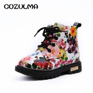 COZULMA Boys Girls Sneakers Elegant Floral Flower Print Shoes Kids Sneakers Boots Toddler Martin Boots Leather Children Sneakers