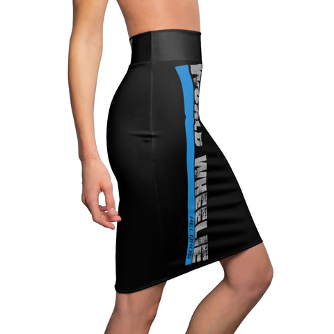 Women's Black World Wheelie Pencil Skirt