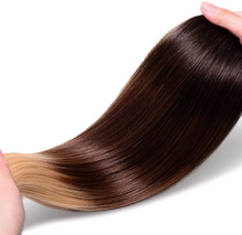 Load image into Gallery viewer, Black/Brown to Blonde Ombre Nano Bead Hair Extensions T2/10/24