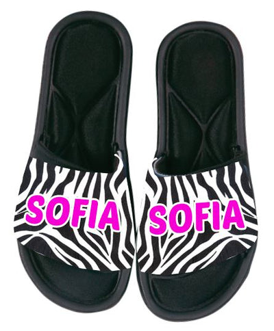 Custom Slides - Glitter with Multi Color Animal Print
