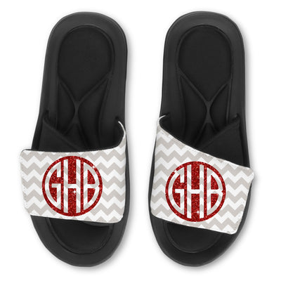Custom Slides - Personalized Monogram Glitter (Round)