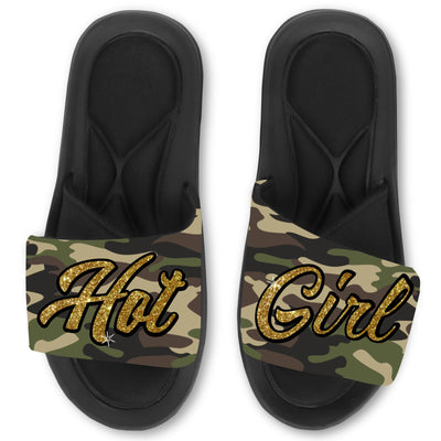 Custom Hot Girl Camo Glitter Print Slides