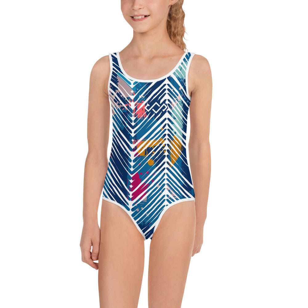 Summer21 Kids Swimsuit Abstract Blue