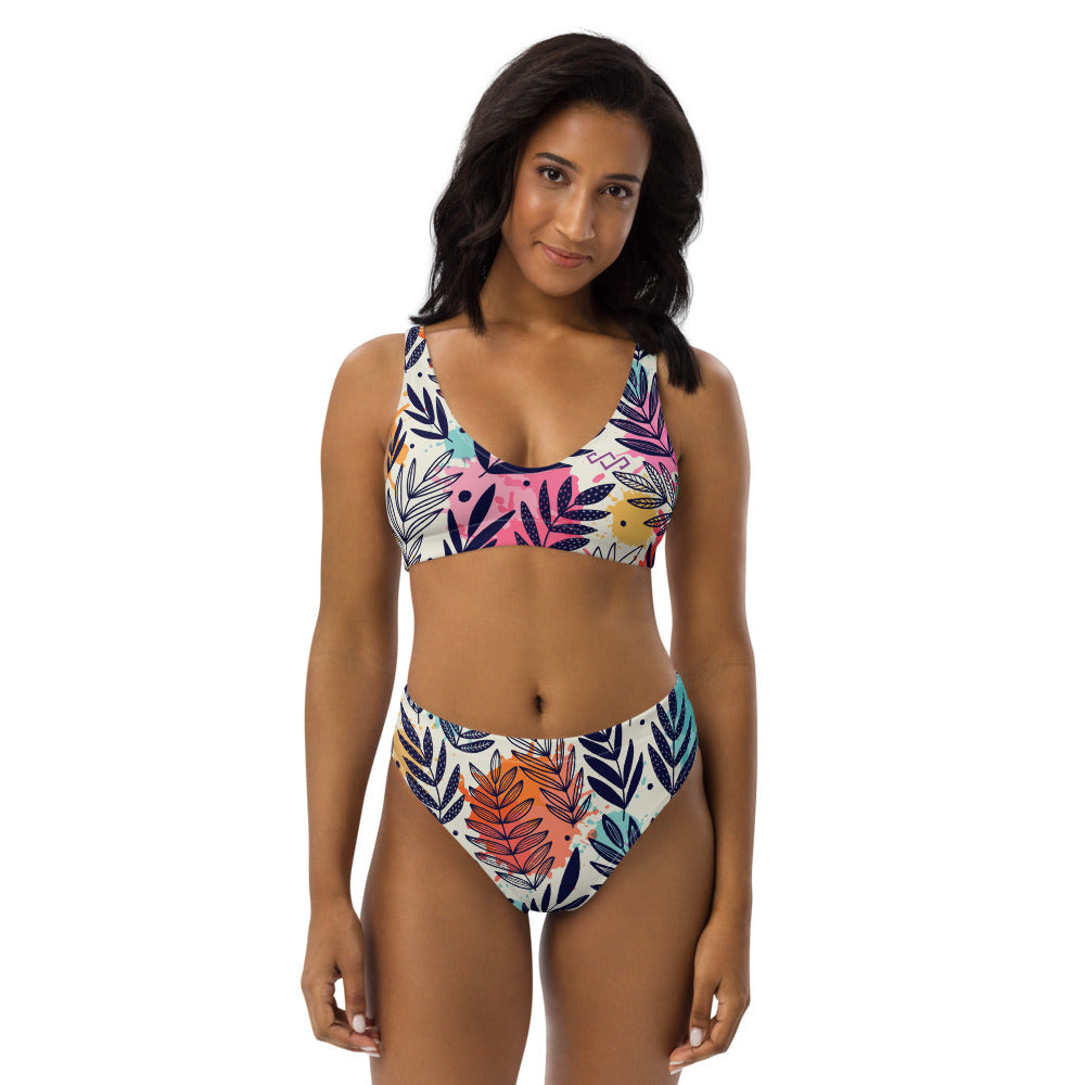 Recycled high-waisted bikini Floral Dream