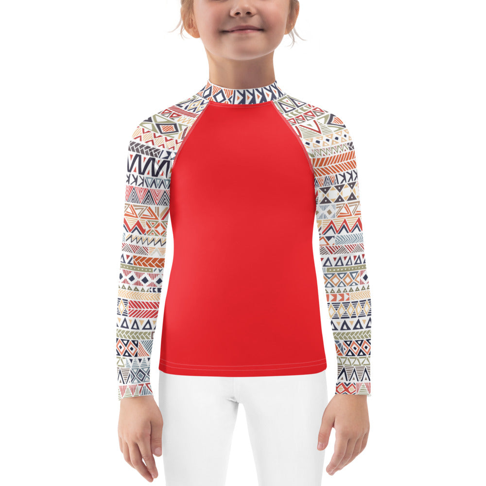 Kinley Girls Rash Guard  - Geometry
