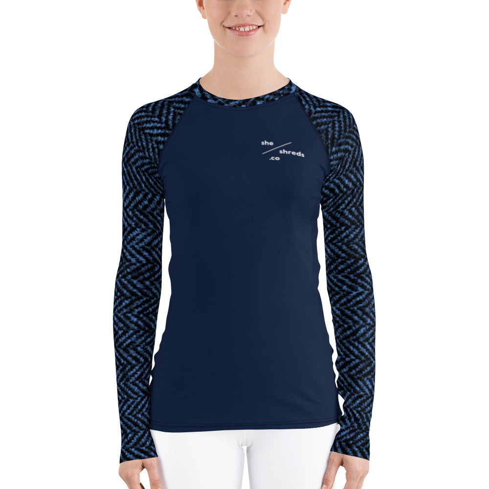 Ella Rash Guard - Navy Houndstooth