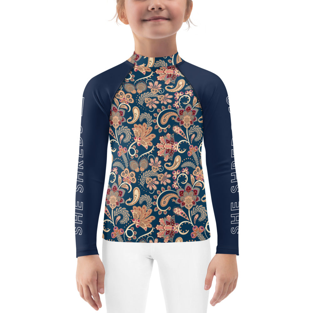 Kinley Girls Rash Guard - Paisley