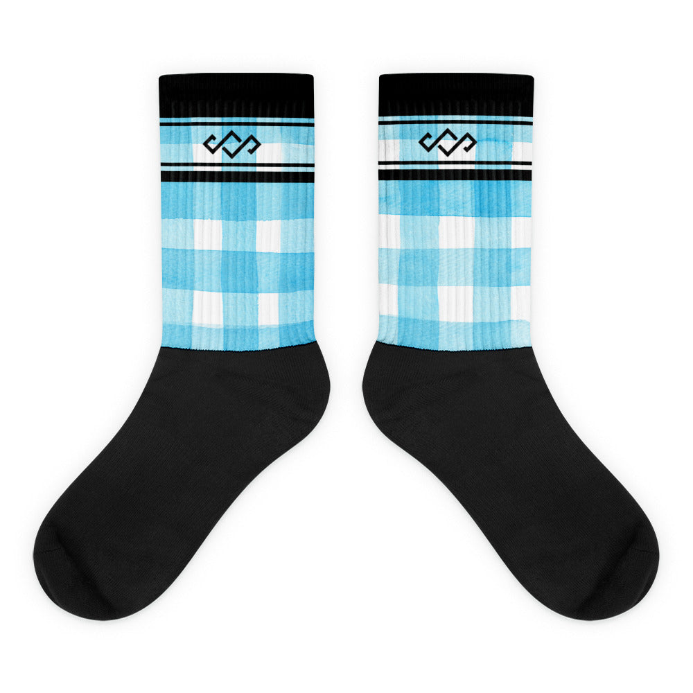 Blue Plaid She Shreds Socks
