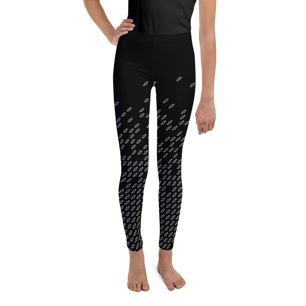 Ava Youth Leggings - Black Logo Print