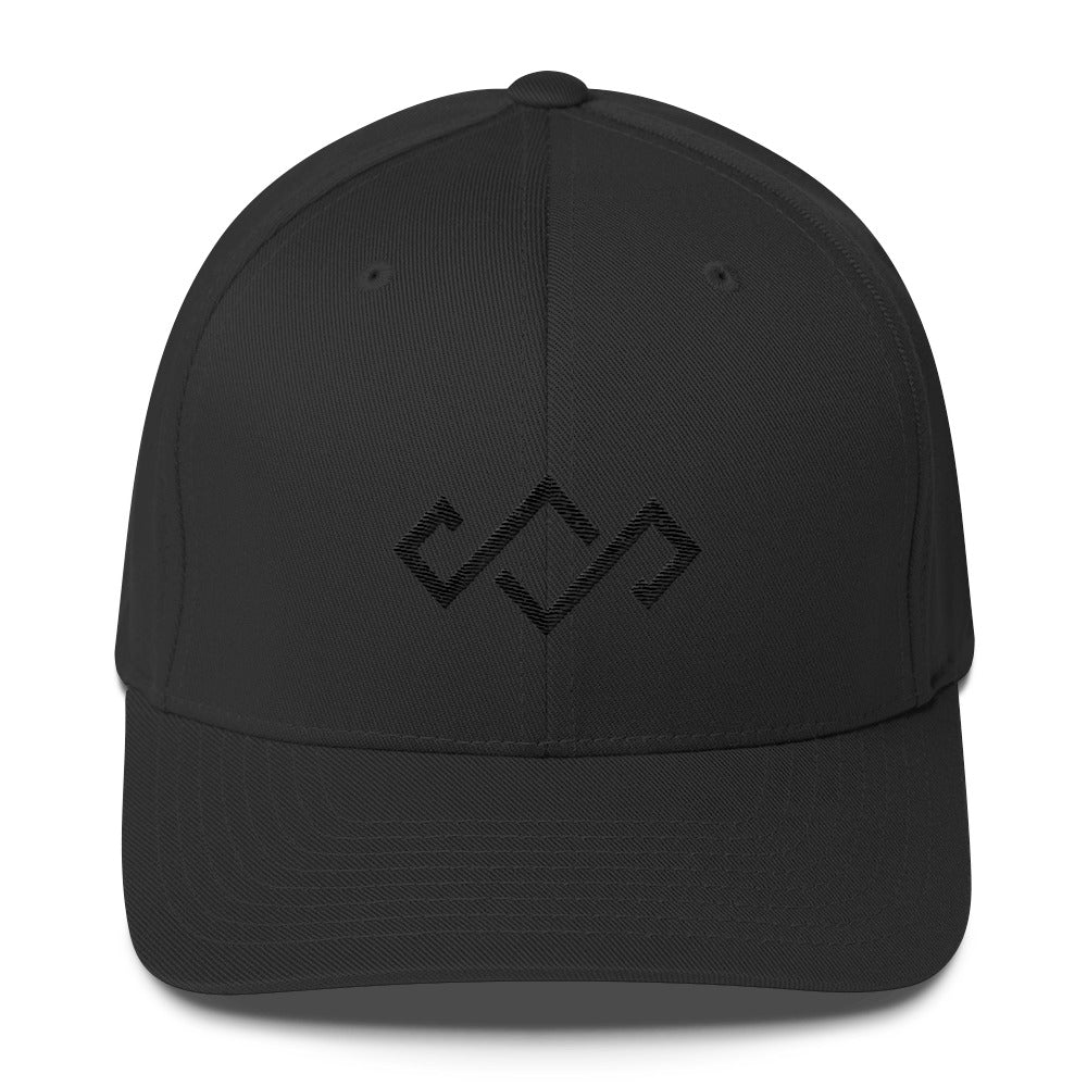 Crown Logo Black Out Flexfit Hat - SheShreds.co 771f7caa053