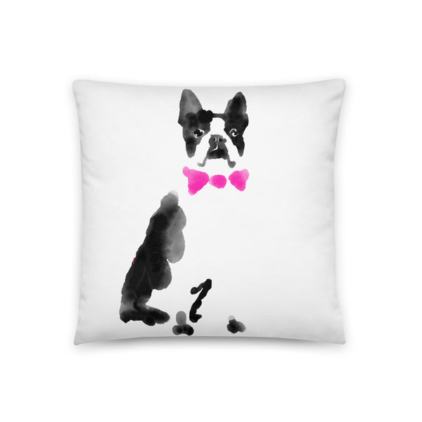 Watercolor Boston Terrier With Bowtie Throw Pillow