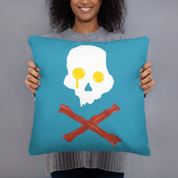 Jolly Roger Bacon And Eggs Breakfast Throw Pillow