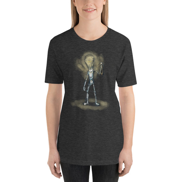 Lightbulb Robot Turns itself On Short-Sleeve Unisex T-Shirt