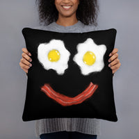 Bacon and Eggs Smiley Throw Pillow