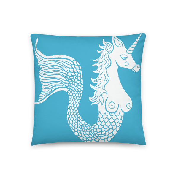 White Mermicorn on Blue Background Accent Pillow