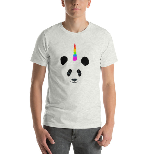 Rainbow Horned Pandacorn (Unicorn Panda) Short-Sleeve Unisex T-Shirt