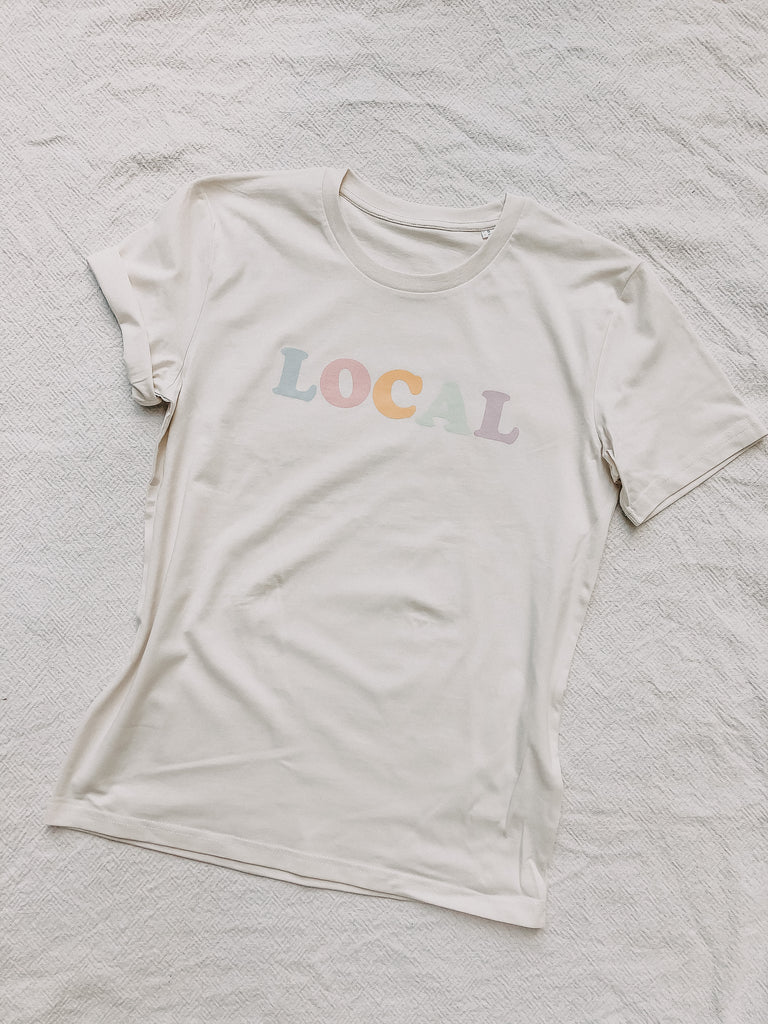"T-Shirt ""LOCAL"" (vintage white) - quatschbanane"