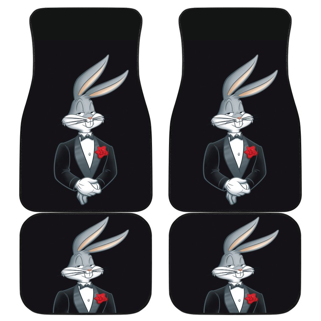 Bug Bunny Handsome With Suit In Black Theme Car Floor Mats 191021