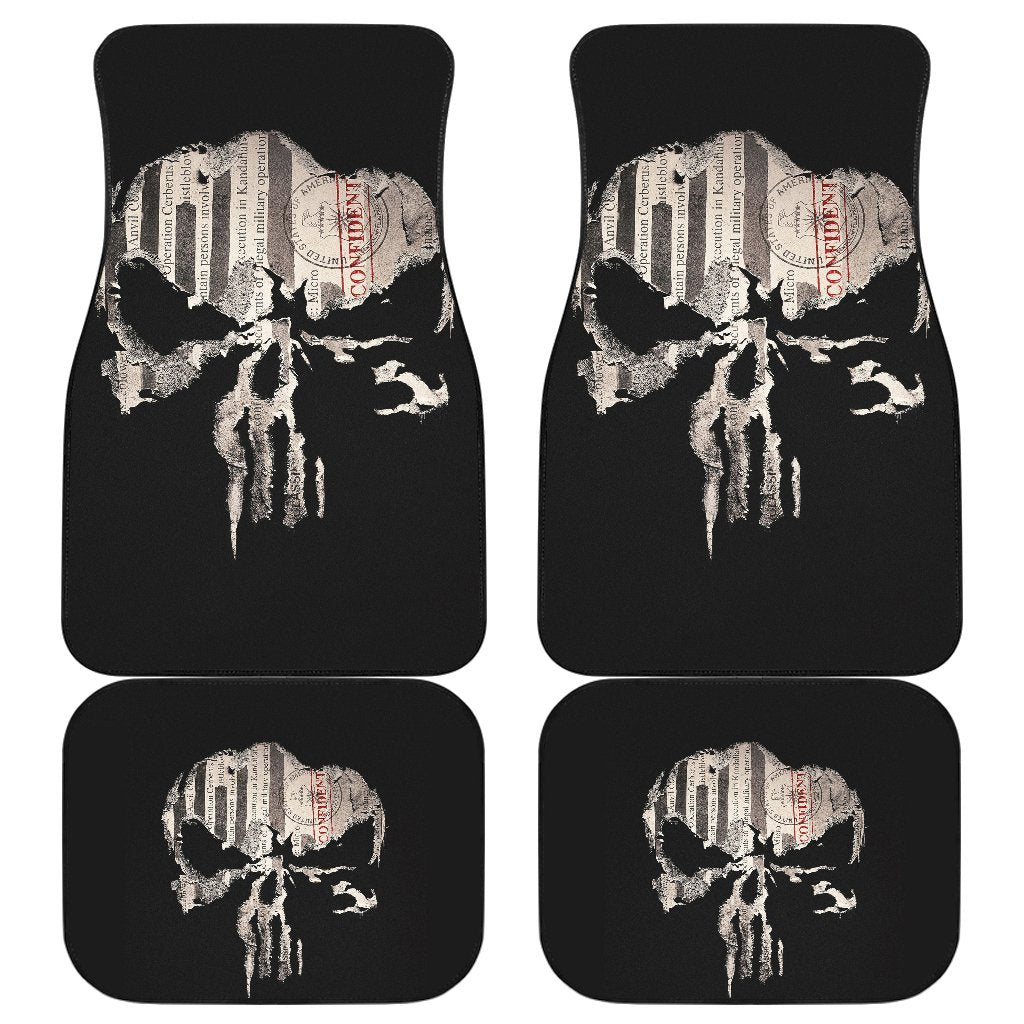 Punisher Skull Map In Black Theme Car Floor Mats 191030