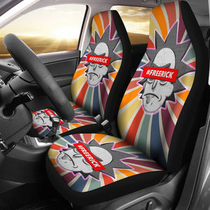 Rick And Morty Car Seat Covers | #FreeRick Head Spiral Retro Seat Covers NT041504 GearForCar 1