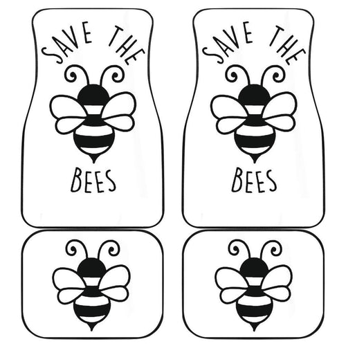Save The Bee Art Draw Black & White Car Floor Mats 191031