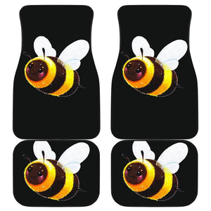 Cute Bee Smile In Black Theme Car Floor Mats 191018