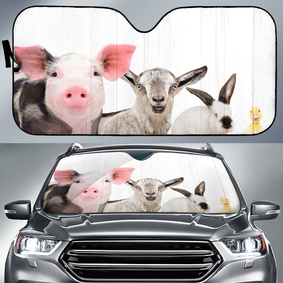 Cute Farm Animals Car Sun Shades Auto