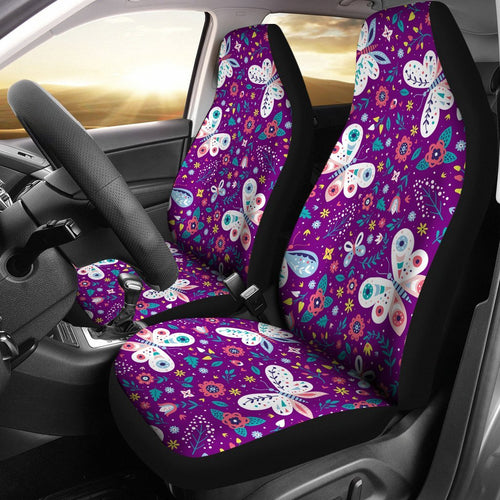 Butterfly Pattern In Purple Theme Car Seat Covers 191123