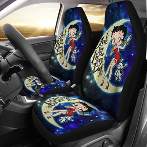 Love You To The Moon And Back Betty Boop With Dog Talkartoons Cartoon Car Seat Covers H041420